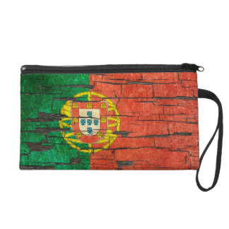 Cracked Portuguese Flag Peeling Paint Effect Wristlet Purses