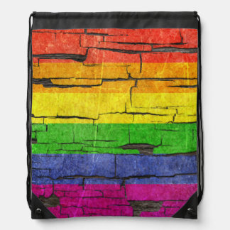 Cracked Rainbow Gay Pride Flag Peeled Paint Effect Drawstring Bag