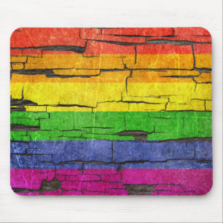 Cracked Rainbow Gay Pride Flag Peeled Paint Effect Mouse Pad
