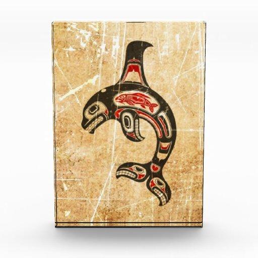 Cracked Red and Black Haida Spirit Killer Whale Acrylic Award