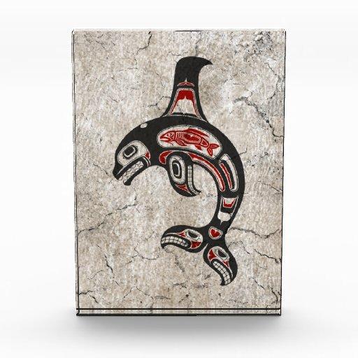 Cracked Red and Black Haida Spirit Killer Whale Award