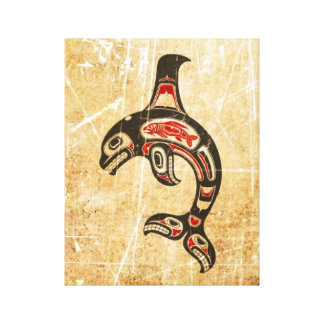 Cracked Red and Black Haida Spirit Killer Whale Gallery Wrapped Canvas