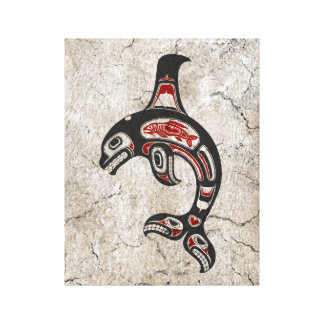 Cracked Red and Black Haida Spirit Killer Whale Canvas Print