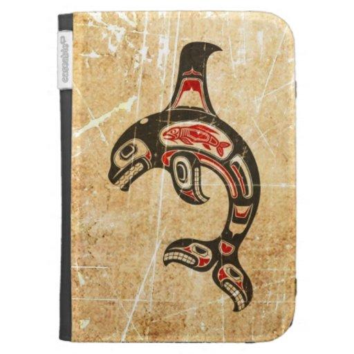 Cracked Red and Black Haida Spirit Killer Whale Kindle 3G Cover