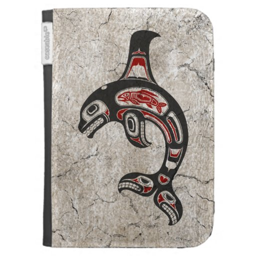 Cracked Red and Black Haida Spirit Killer Whale Kindle 3G Covers