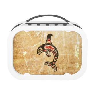 Cracked Red and Black Haida Spirit Killer Whale Yubo Lunch Boxes