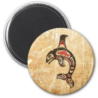 Cracked Red and Black Haida Spirit Killer Whale Fridge Magnets