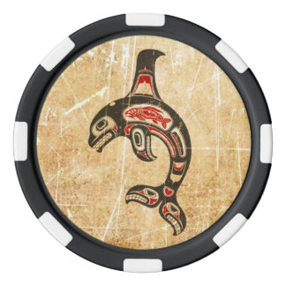 Cracked Red and Black Haida Spirit Killer Whale Poker Chip Set