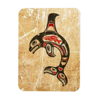 Cracked Red and Black Haida Spirit Killer Whale Vinyl Magnet