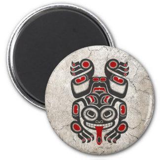 Cracked Red and Black Haida Spirit Tree Frog Fridge Magnets