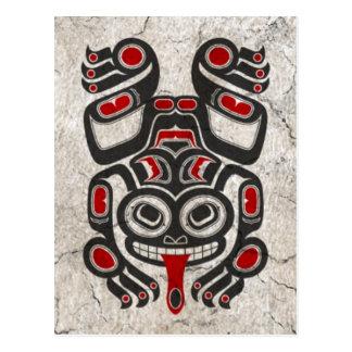 Cracked Red and Black Haida Spirit Tree Frog Postcard