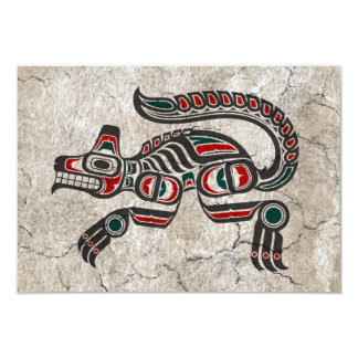 Cracked Red and Black Haida Spirit Wolf Card