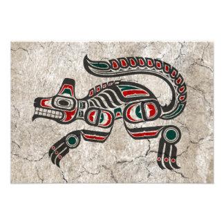 Cracked Red and Black Haida Spirit Wolf Custom Invitation