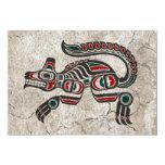 Cracked Red and Black Haida Spirit Wolf 3.5x5 Paper Invitation Card