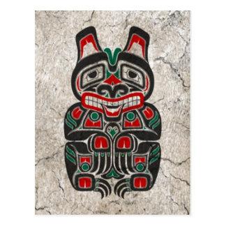 Cracked Red and Green Haida Spirit Bear Postcard