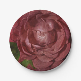 Cracked Red Rose Paper Plate