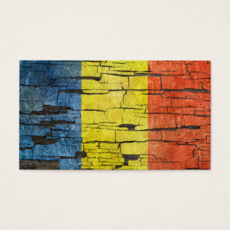 Cracked Romanian Flag Peeling Paint Effect Business Card