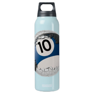 Cracked Shell Break Out Billiards 10 Ball Insulated Water Bottle
