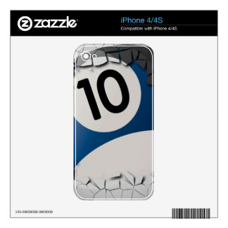 Cracked Shell Break Out Billiards 10 Ball iPhone 4 Skin