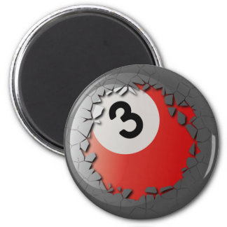 Cracked Shell Break Out Billiards 3 Ball 2 Inch Round Magnet
