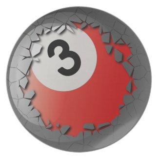 Cracked Shell Break Out Billiards 3 Ball Dinner Plate