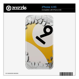 Cracked Shell Break Out Number 9 Billiards Ball Decals For The iPhone 4S