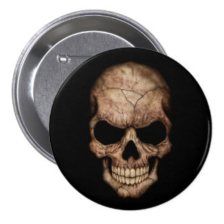 Cracked Skull Emerging From Darkness Button