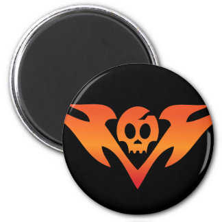Cracked Skull & Flames Tatoo 2 Inch Round Magnet