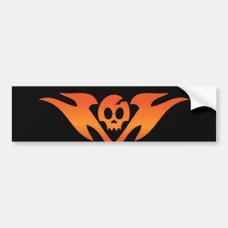 Cracked Skull & Flames Tatoo Bumper Sticker