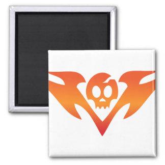 Cracked Skull & Flames Tatoo Magnet