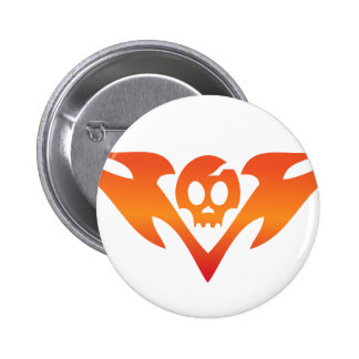 Cracked Skull & Flames Tatoo Pinback Button