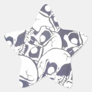 cracked skulls star sticker