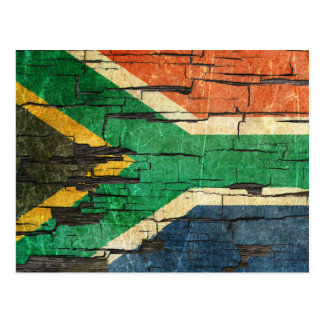 Cracked South African Flag Peeling Paint Effect Postcard