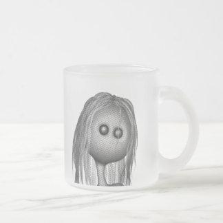 Cracked Statue 3D Bonga Doll Halftone - GREY B&W Frosted Glass Coffee Mug