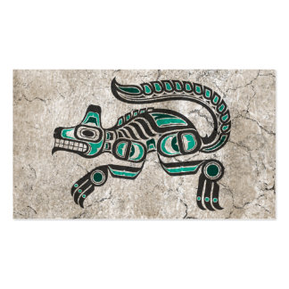 Cracked Teal Blue and Black Haida Spirit Wolf Business Card Templates