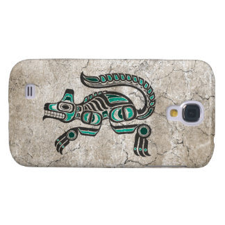 Cracked Teal Blue and Black Haida Spirit Wolf Samsung Galaxy S4 Cover