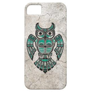 Cracked Teal Blue Haida Spirit Owl iPhone 5 Case
