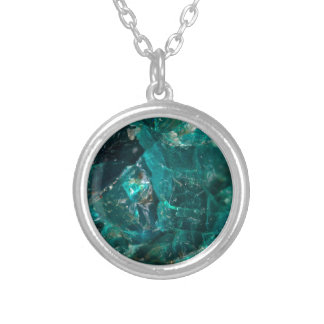 Cracked Teal Sugar Silver Plated Necklace