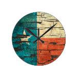 Cracked Texas Flag Peeling Paint Effect Wall Clocks