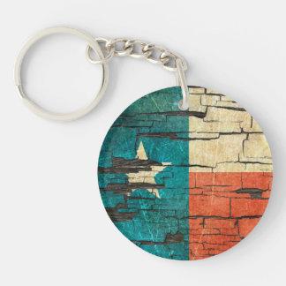 Cracked Texas Flag Peeling Paint Effect Keychain