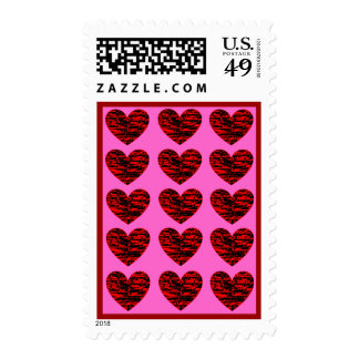 Crackle Hearts Postage