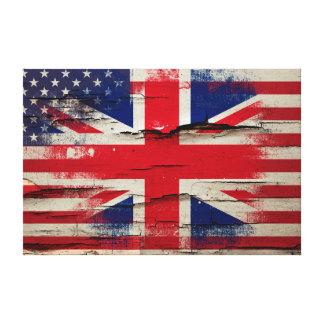 Crackle Paint | British American Flag Canvas Print