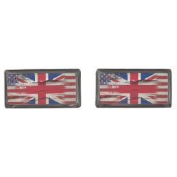 Crackle Paint | British American Flag Cufflinks