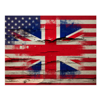Crackle Paint | British American Flag Postcard