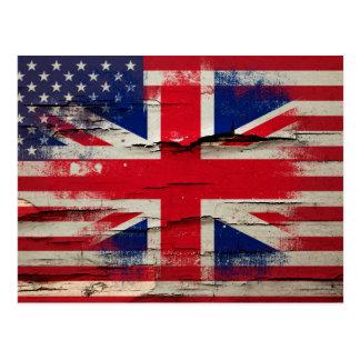 Crackle Paint | British American Flag Postcard
