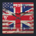 "Crackle Paint | British American Flag Square Wall Clock<br><div class=""desc"">Cool square wall clock with a British American fusion design featuring a print of the American flag and the Union Flag merged together on rustic wood with paint peeling off.</div>"