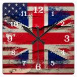 Crackle Paint | British American Flag Square Wall Clocks