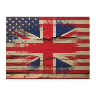 Crackle Paint | British American Flag Wood Wall Decor