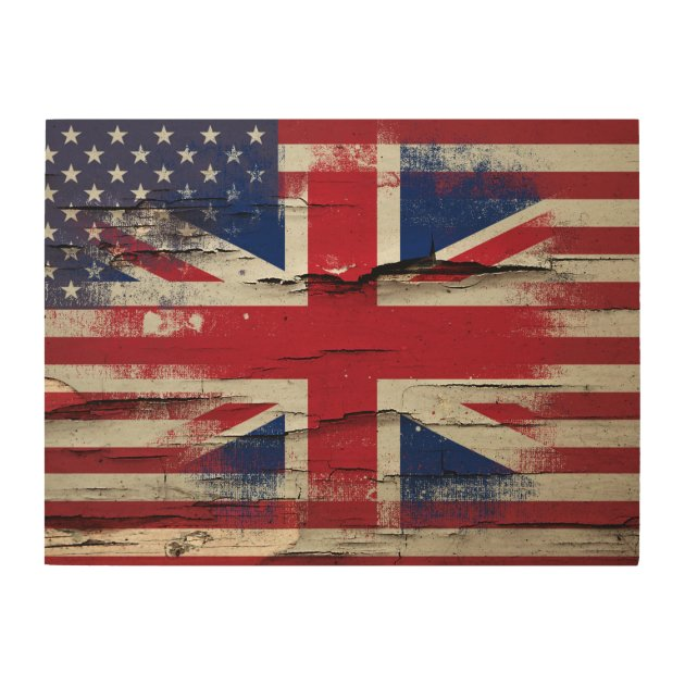 Crackle Paint | British American Flag Wood Wall Decor | Zazzle.com Part 50