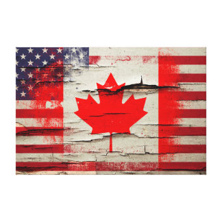 Crackle Paint | Canadian American Flag Canvas Print